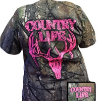 Country Life Outfitters Bone Realtree Camo Pink Deer Skull Head Hunt Vintage Bright T Shirt