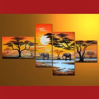 GMD4001  4-PCS Group Oil Painting