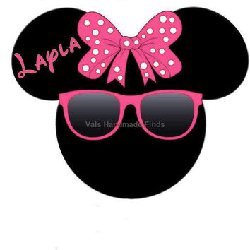 Pink Super Hot Sexy Sunglasses Minnie Mouse Head Disney World Personalized w/ Name/Date Printable Iron On Transfer DIY Instant Download