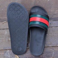 "Hot Sale Gucci Woman Men ""Black"" Fashion Casual Sandals Slipper Shoes"
