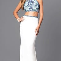 Floor-Length Faviana Two-Piece Prom Dress