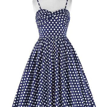 Retro Vintage Spaghetti Straps Polka Dots Flared A-Line Cotton Party Picnic Dress Navy Blue Plus Size Woman Dresses vestidos