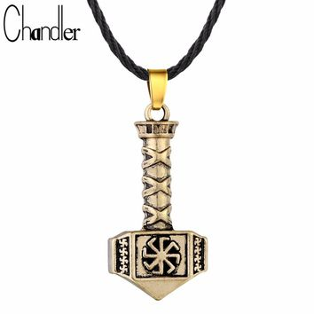 Chandler Antique Silver Gold Color Kolovrat Pendant Necklace Slavic Hammer Of Thor Charm Simple Viking Jewelry 2017 New Torque