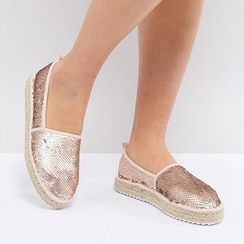 ASOS DESIGN Justene sequin espadrilles at asos.com