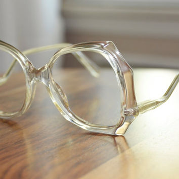 Vintage Crystal shape Clear Oversized Eyeglasses with a drop arm 53/16