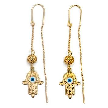 Hamsa hands Threaders Earrings 18K of Gold-Filled