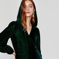 Emerald Velvet Wrap Dress Cloak