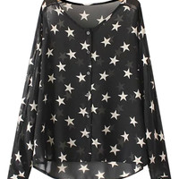 Stars Print Long Sleeve Blouse