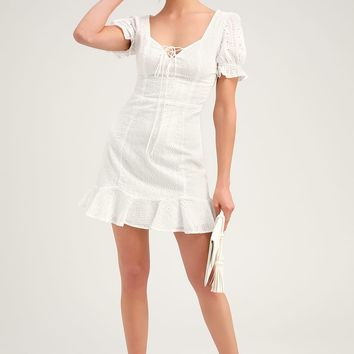 Rapunzel White Eyelet Lace Mini Dress