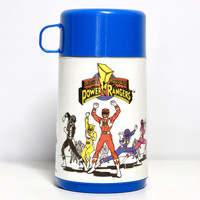 Vintage 1990s Power Rangers Character Thermos by Aladdin, Saban | 90s Superhero Retro Children's Toy, Cartoon Nostalgia