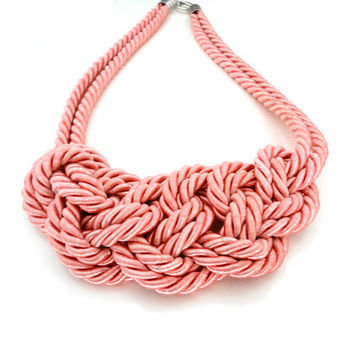 Coral Pink Rope Nautical Knot Statement Necklace