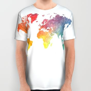 Map of the world colored All Over Print Shirt by Jbjart | Society6