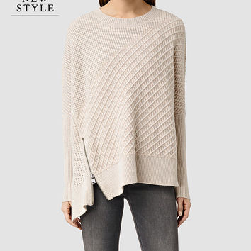 ALLSAINTS US: Womens Fragment Sweater (PORCELN WHITE/NUDE)