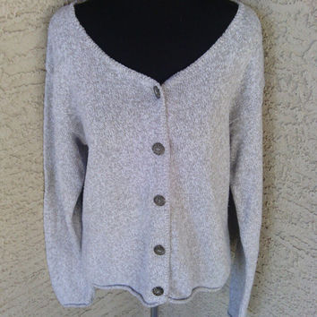 Brown gray cardigan button front casual boho slouchy sweater early 80s vintage Alps fine women's apparel