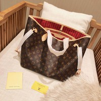 LV Women Leather Shoulder Bag Satchel Tote Handbag Shopping Leather Tote Crossbody Satchel Shoulder Bag