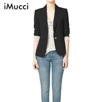 iMucci Black Women Blazers Autumn Jackets Spring Plus Size Long Sleeves Suit Lapel Coat Single Button Office Lady Vogue Blazers