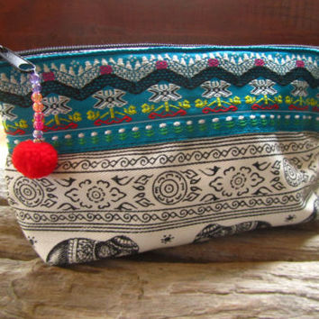 Hilltribe Ribbon Mini Makeup Case Pencil Case Pouch Elephant Ethnic Wallet | eBay