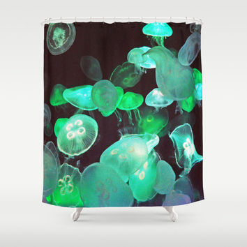 Green Moon Jellyfish - Shower Curtain, Black Nautical Bath Style, Boho Chic Beach Surf Decor Bathtub Hanging Curtain Accent. In 71x74 Inches