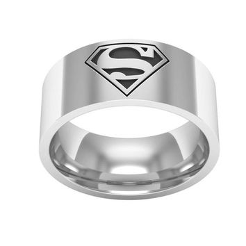 Superman Superwoman 316L8MM Stainless Steel Ring Comfort Fit Sizes 6-13