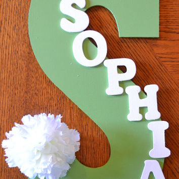 "WHITE FLOWER Theme- Personalized 13.5"" Hand Painted Wooden Letter Initial Hanging Wall Art With Name"