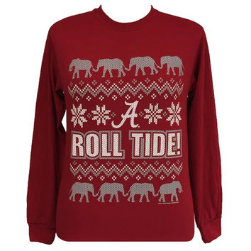 Alabama Crimson Tide Christmas Holiday Girlie Long Sleeve T Shirt