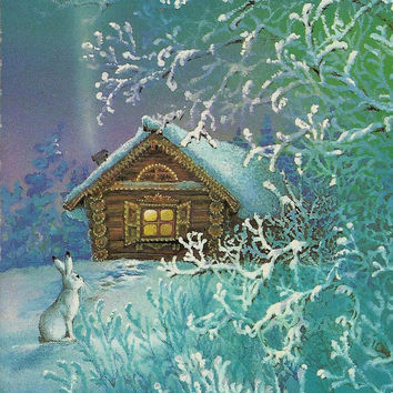 Rabbit in winter forest, Vintage Postcard Russian, Happy New Year, Christmas, Xmas, unused 1987
