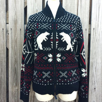 Vintage Women's Ralph Lauren Polar Bear Wool Sweater - Black Cardigan - SZ M/L