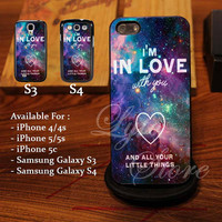 New One Direction Love Quote galaxy Design for iPhone 4, iPhone 4s, iPhone 5, Samsung Galaxy S3, Samsung Galaxy S4 Case