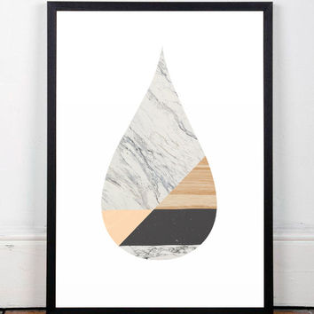 Marble art print, Marble poster, Mid century modern, Scandinavian print, Contemporary art print, Pop art, Modern decor, Abstract decor, A3