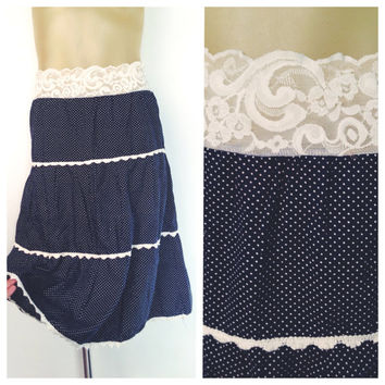 Blue Tiered Skirt White Polka Dot Lace Waistband Prairie Style Elastic Waist Vintage Navy Blue Skirt Scalloped Lace Trim Below Knee Cotton M
