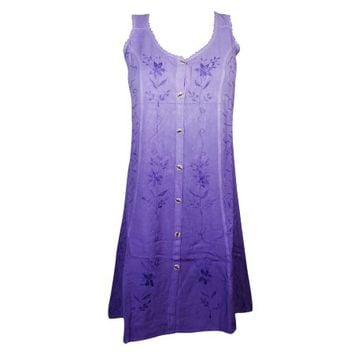 Mogul Womens Purple Tank Dress Floral Embroidered Button Front Sleeveless Sundress - Walmart.com
