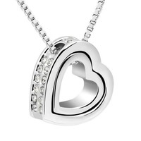 Gold-Color Austrian Crystal Luxury Pandora forever love Heart Necklaces & Pendants Fashion Jewelry for Women gift