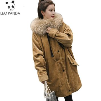 Winter Women Cotton Jacket 2017 Fashion Women Hooded Corduroy Thick Fur Collar Parka Warm Ladies Jackets Outwear Female LXT655