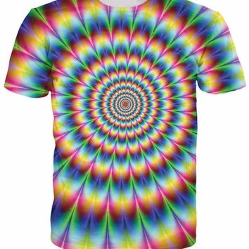 2017 New Arrive 3d Fashion Clothing Women Men tees Into the Rainbow T-Shirt psychedelic Colorful t shirt Summer Style camisetas