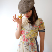 Bird in spring, Japanese vintage dress, xs