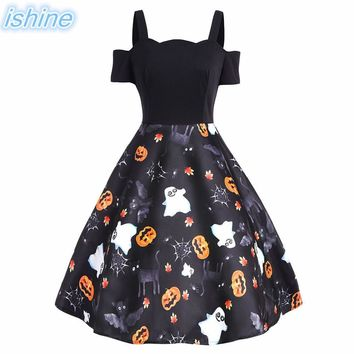 Women Vintage Dress 2018 Hepburn Style Halloween Pumpkin Retro 50s 60s Swing Dresses Robe Rockabilly Backless Party Dress