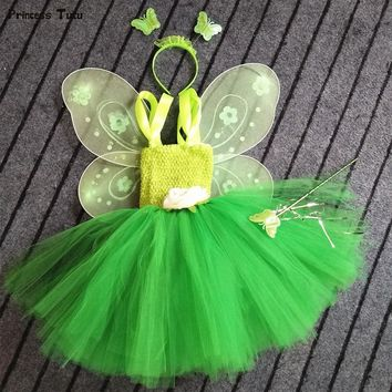 1 Set Cosplay Tinkerbell Magic Fairy Tutu Dress Up Princess Girl Birthday Party Dress Green Kids Halloween Costume With Wing