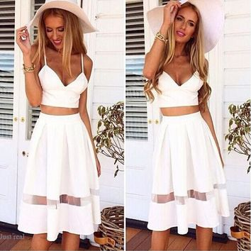 Spaghetti Strap Patchwork Crop Top with Long Skirt Two Piece Set