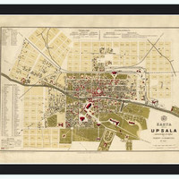Old Map of Upsala Uppsala, Sweden 1882 - VINTAGE MAPS AND PRINTS