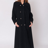 1990's Black Coat - Vintage 1990's A Lined Princess Wool Double Breasted Minimalist Goth Preppy Winter Maxi Coat Size L XL