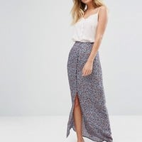 New Look Button Front Maxi Skirt at asos.com
