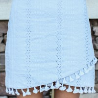 Tassel Trim Lace Skirt - Blue