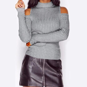 2017 Women Knitted Vintage Turtleneck Solid Rib Sweaters Sexy Ladies Long Sleeve Pullovers Casual Off Shoulder Jumpers Knitwear