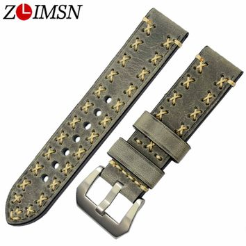 ZLIMSN Watchbands Italy Genuine Leather Watch Strap Belt Replacement 20mm 22mm 24mm 26mm Silver Brushed Stainless Steel Buckle