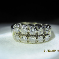 14 KT White Gold Vintage Ladies Double Row Diamond Ring Ten Diamonds .50 Carats