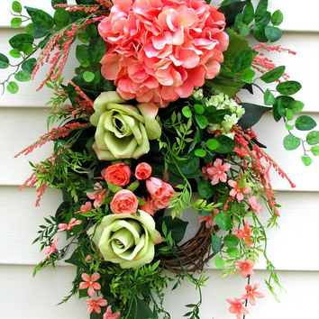 Summer door swags, Front door swags, peach wreath, hydrangea swag, rustic wreath, teardrop door swag, spring summer swag, front porch decor