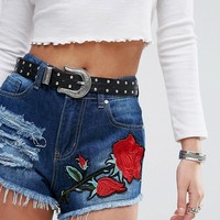 Boohoo Applique Distressed Denim Shorts at asos.com