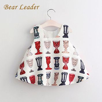 Bear Leader Brand Girls Dress 2017 NEW European and American Style Pattern Pring for Baby Girls Dress Children Clothing for 3-8Y