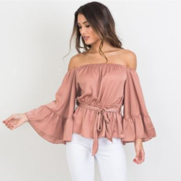 Off Shoulder Flare Peplum Top