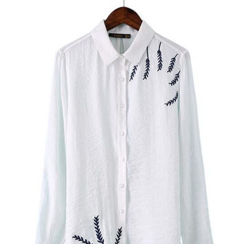 Women white embroidery leaves pattern blouse office wear shirt Turn down collar long sleeve loose shirts casual tops LT822